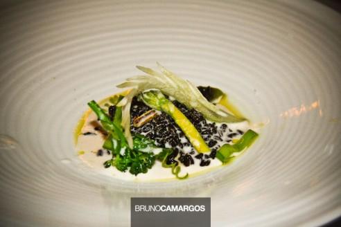 Arroz negro com legumes verdes regados por leite de castanha do Pará