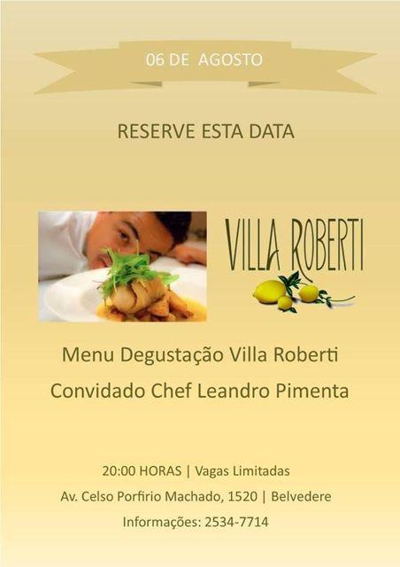 Convite Jantar Villa Roberti com Chef Leandro Pimenta